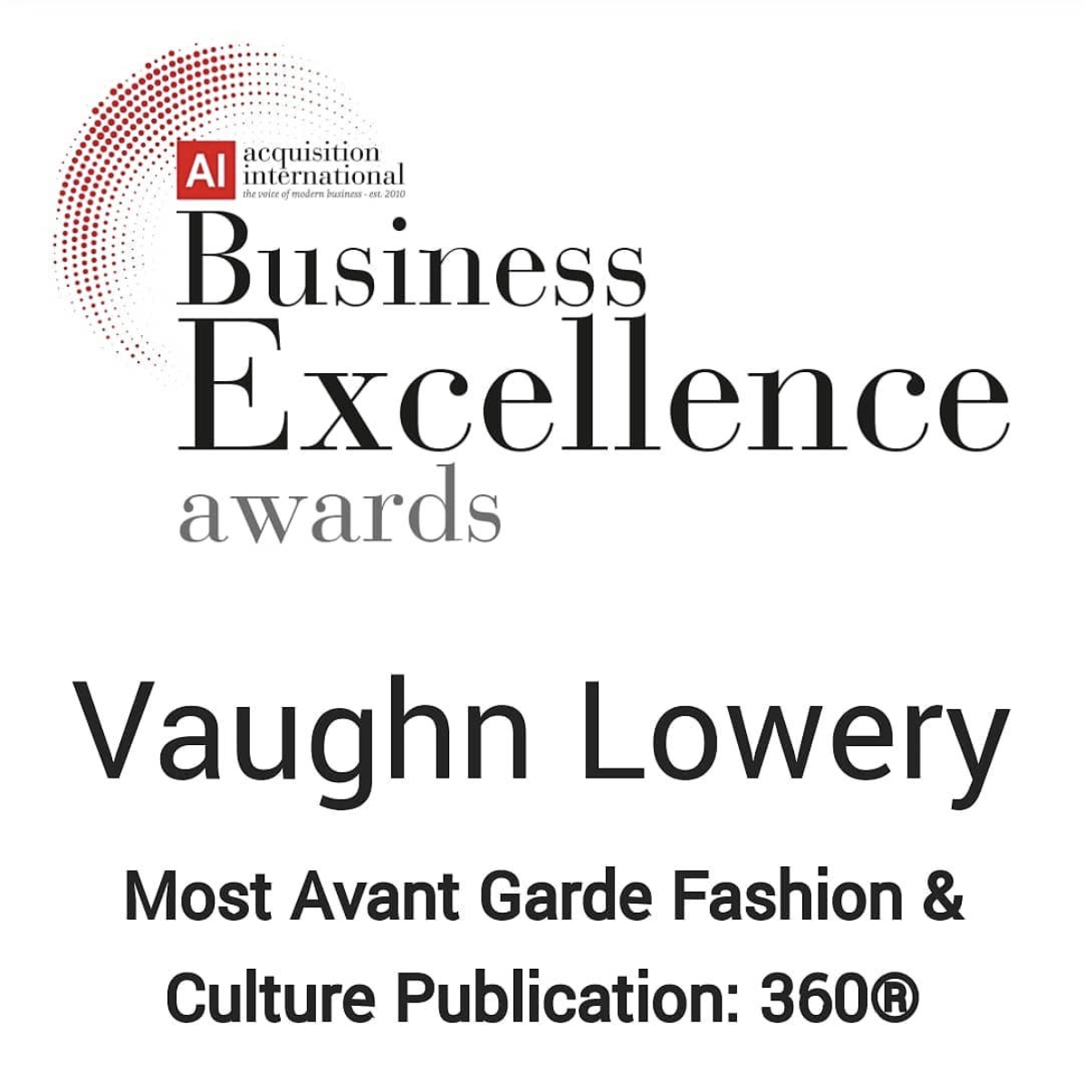 360 Magazine, AI Business Excellence awards, Vaughn Lowery
