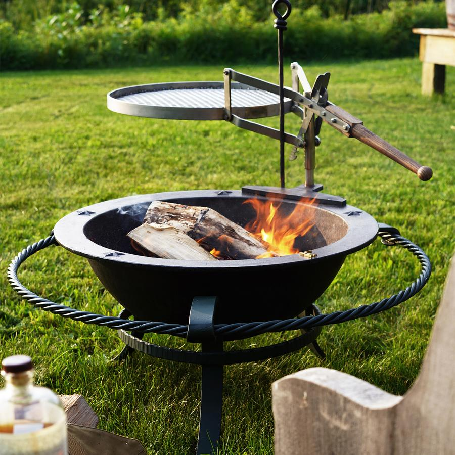 kettle, fire kettle, Ball and Buck, outdoors, fire, firepit, wood, grass, backyard