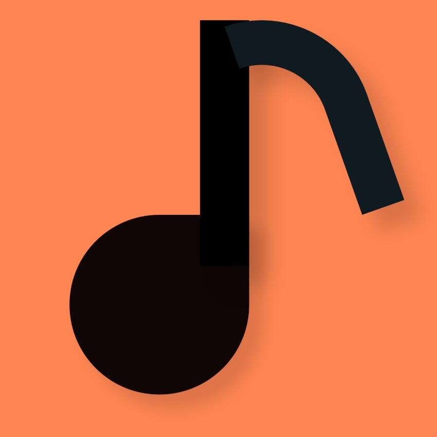 music, note, orange, black