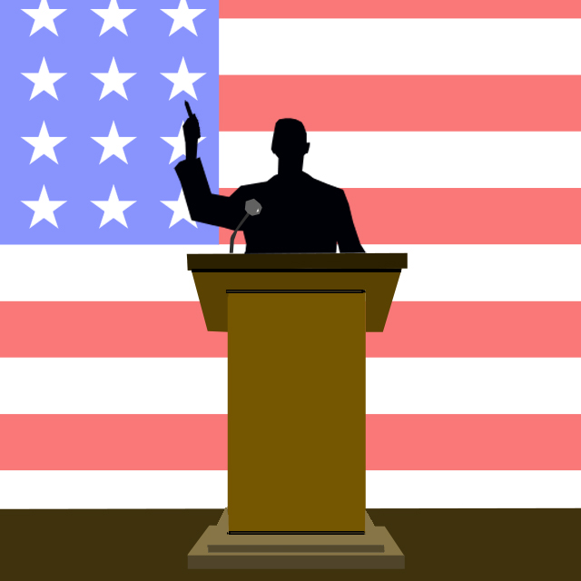politics, podium, flag, speech