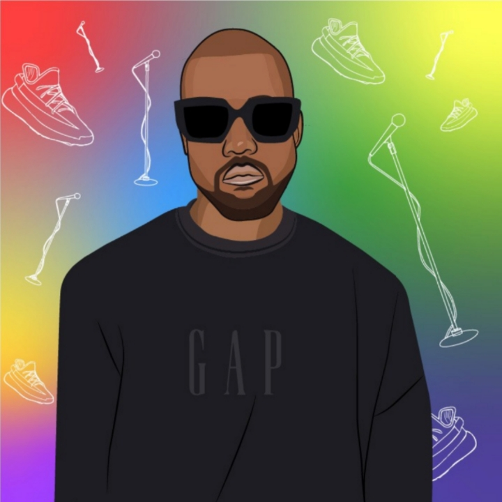 Kanye West, 360 Magazine, rapper, Kim Kardashian, Adidas, yeezy rita azar, illustration