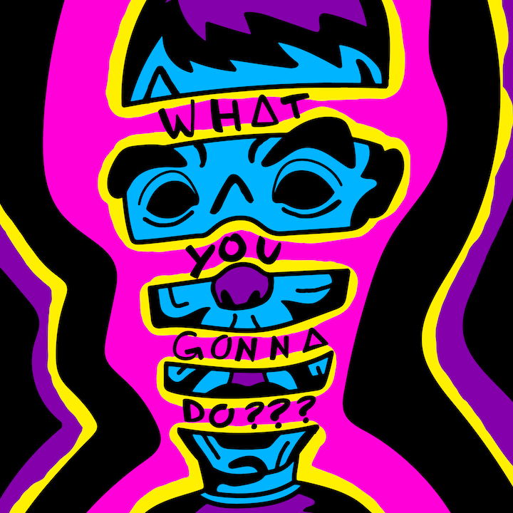 Bastille's What You Gonna Do??? illustration done by Mina Tocalini of 360 MAGAZINE.