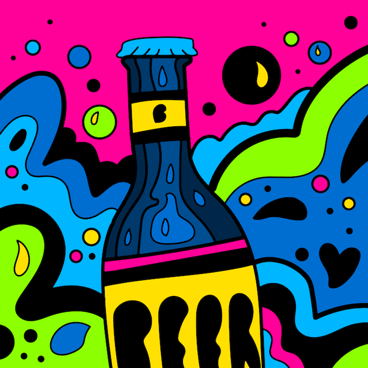 Bottled Beer illustration done by Mina Tocalini of 360 MAGAZINE.