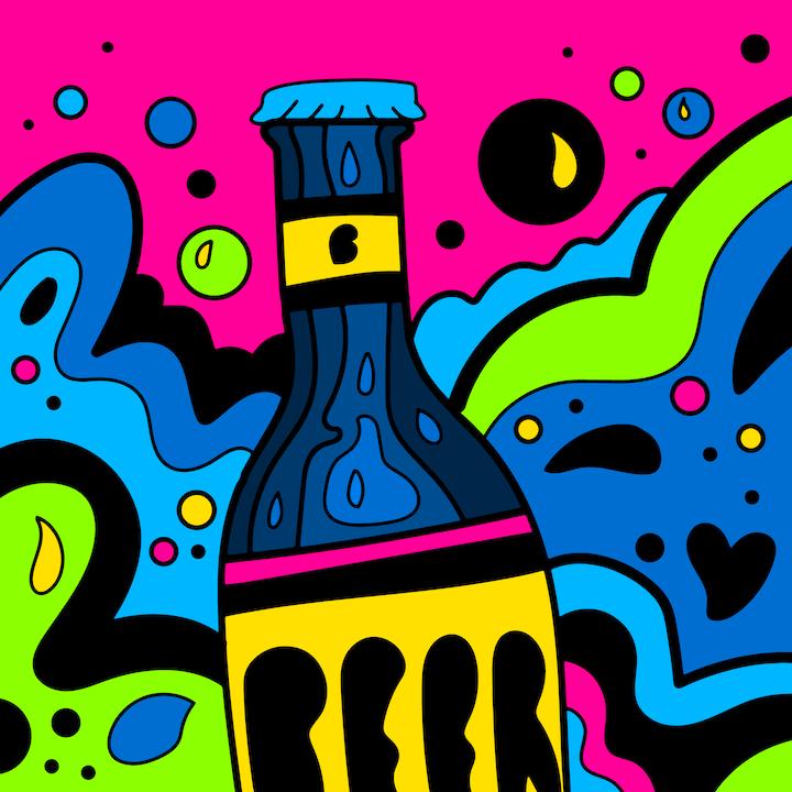 Bottled Beer illustration done by Mina Tocalini of 360 MAGAZINE.