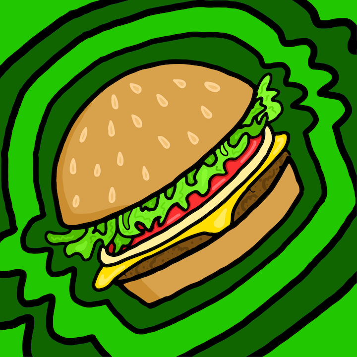 Plant Burger illustrated by Mina Tocalini for 360 MAGAZINE.