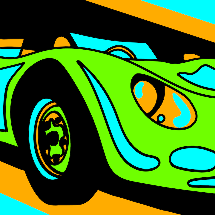 Green Car illustration done by Mina Tocalini of 360 MAGAZINE.