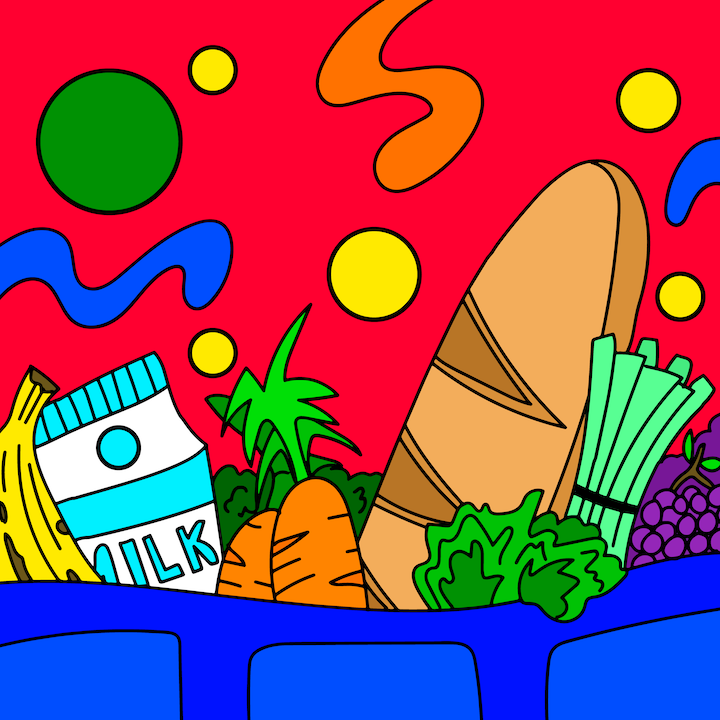 Groceries illustration done by Mina Tocalini of 360 MAGAZINE.