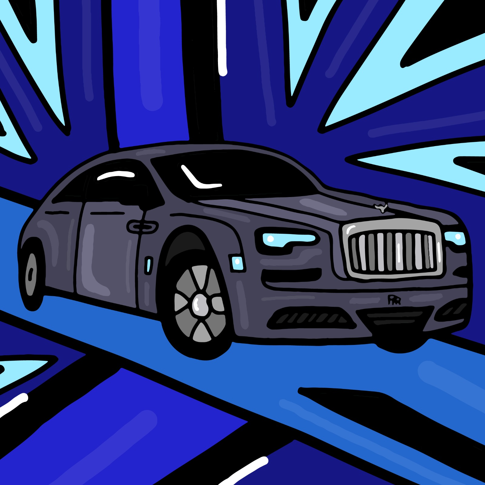 Rolls-Royce illustration by Mina Tocalini