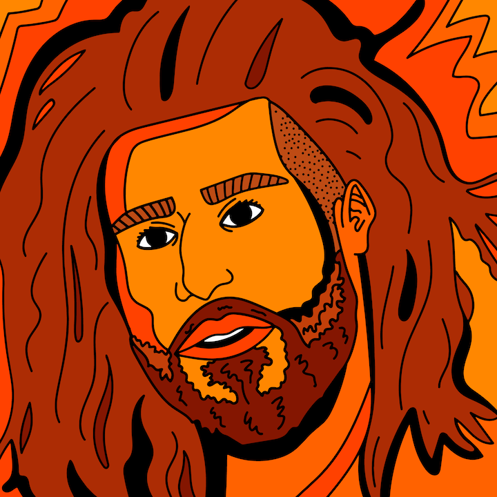 J. Cole illustrated by Mina Tocalini for 360 MAGAZINE.