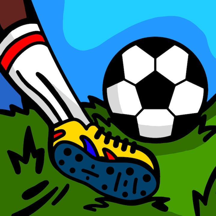 Kicking a Soccer Ball illustration done by Mina Tocalini of 360 MAGAZINE.