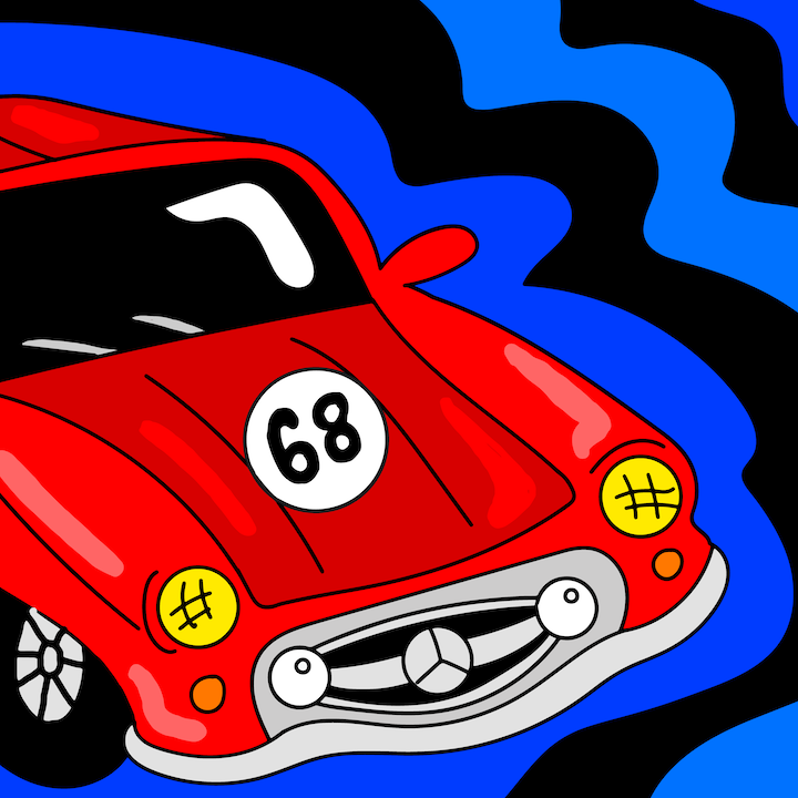 Mercedes Hotwheel illustrated by Mina Tocalini for 360 MAGAZINE.