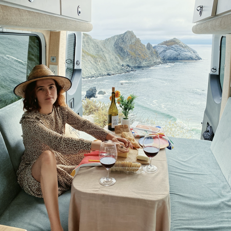 Zoey Deutch in Outdoorsy van