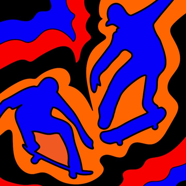Skateboarding illustrated by Mina Tocalini for 360 MAGAZINE.