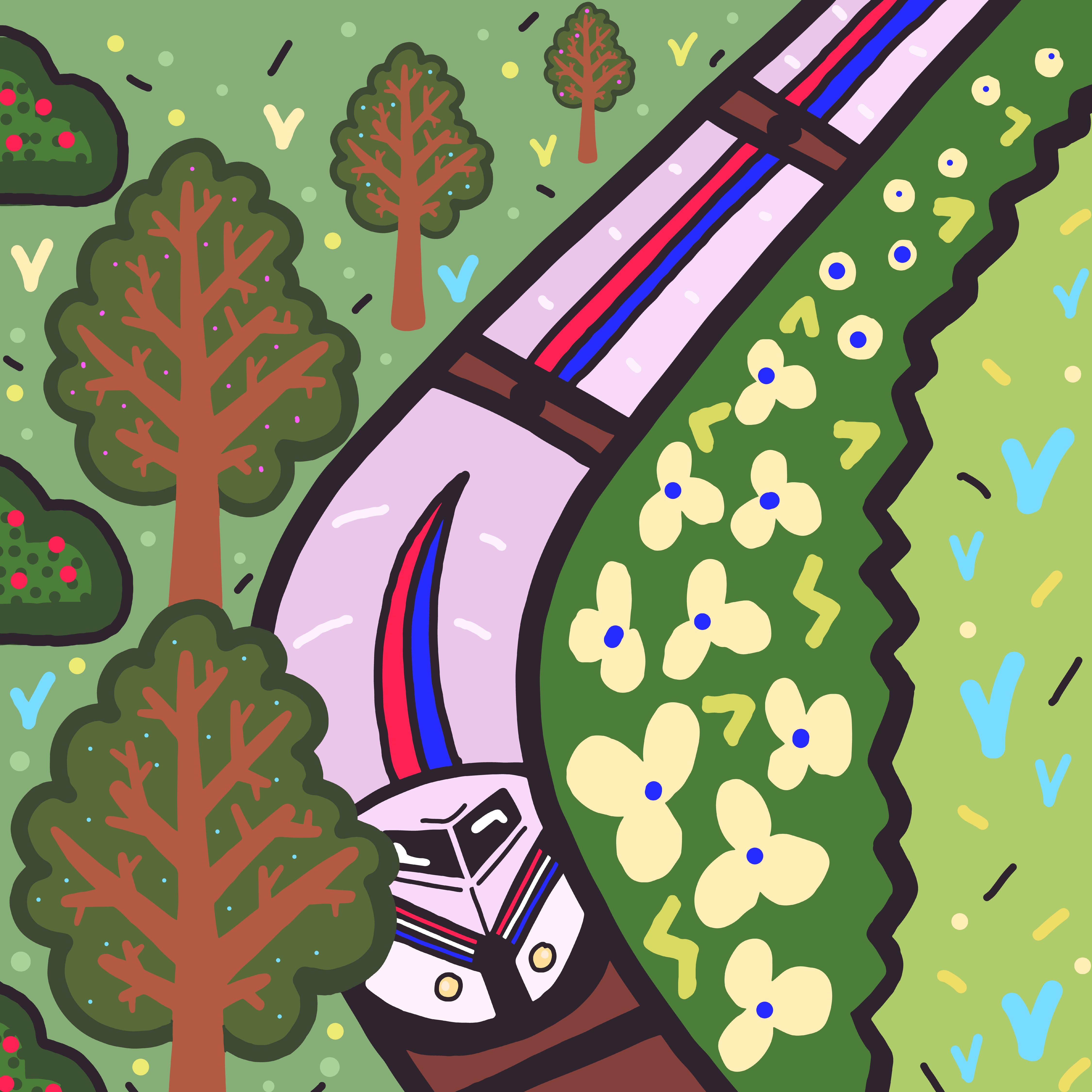 Train illustration by Mina Tocalini