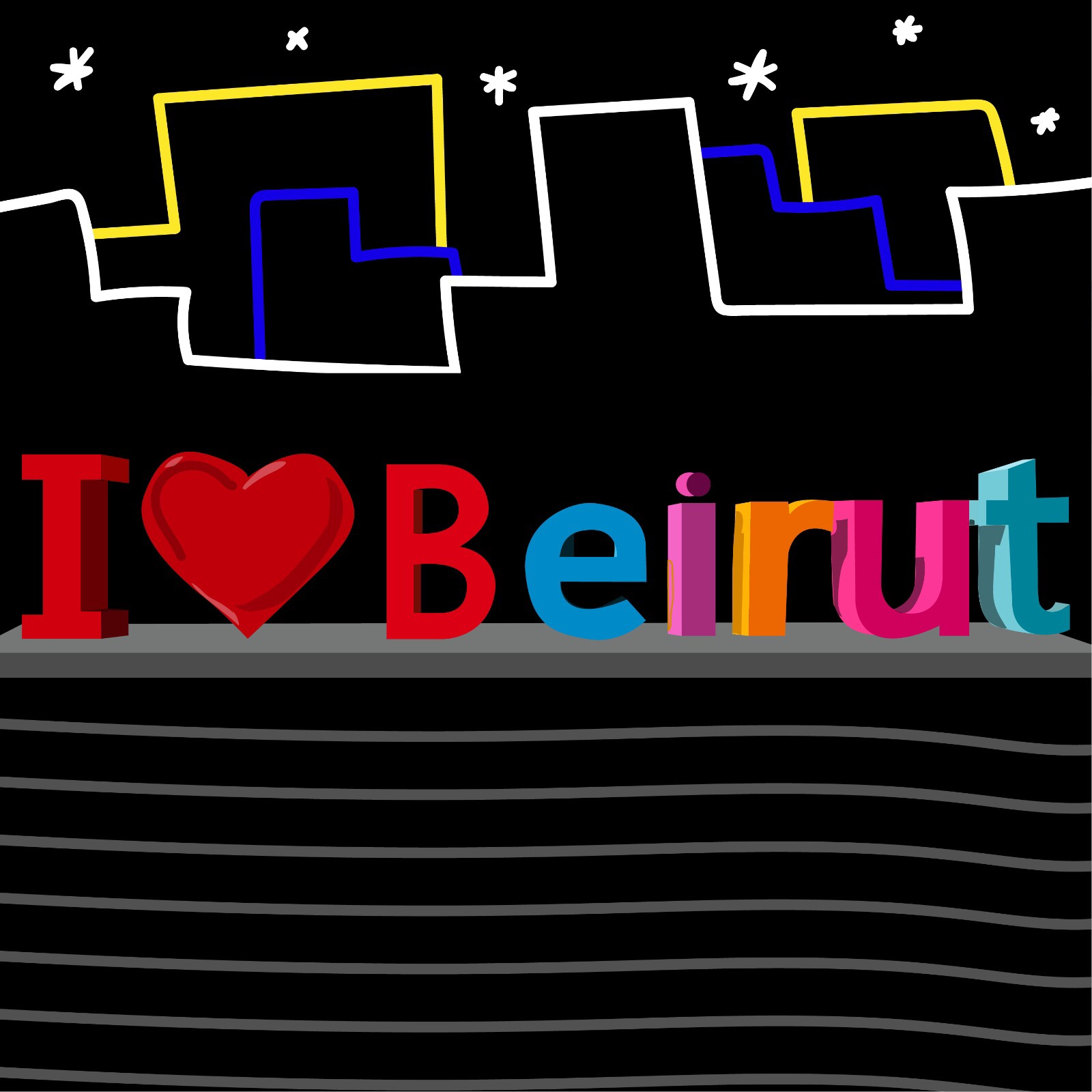 Rita Azar illustrates artwork for Beirut in 360 MAGAZINE