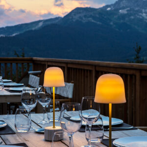 Stunning rooftop dining view at The Refuge de la Traye