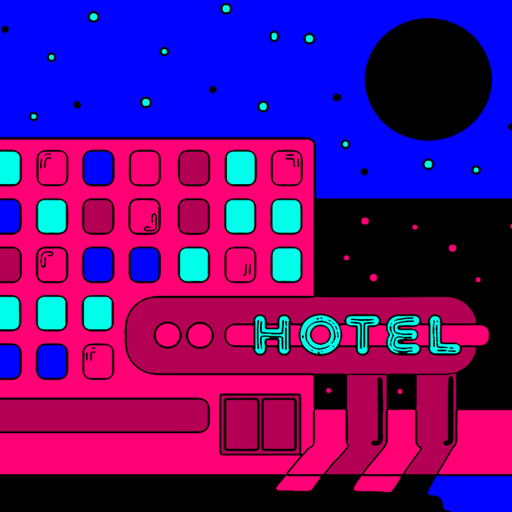 Hotel illustration done by Mina Tocalini of 360 MAGAZINE.
