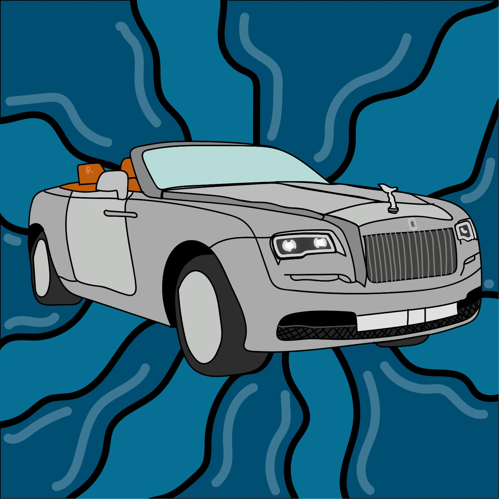 Rolls-Royce Dawn convertible illustration by Rita Azar for 360 Magazine