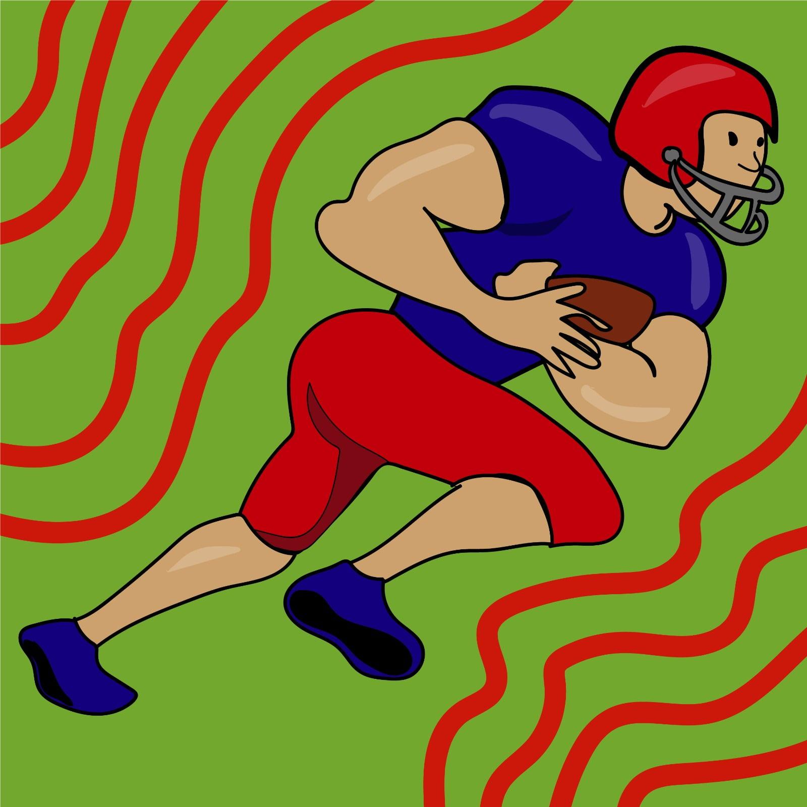 Rita Azar illustrates football player for 360 MAGAZINE