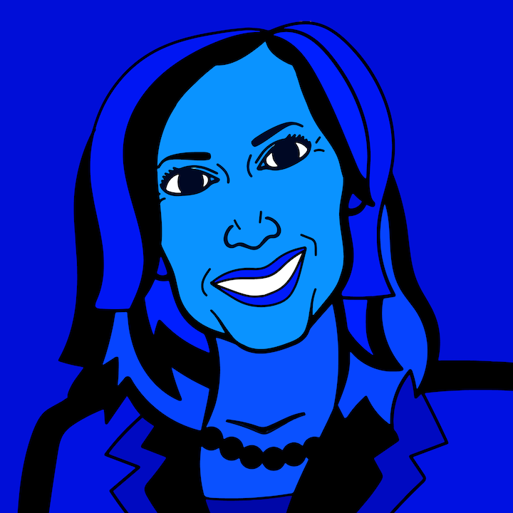 Kamala Harris illustration done by Mina Tocalini of 360 MAGAZINE.