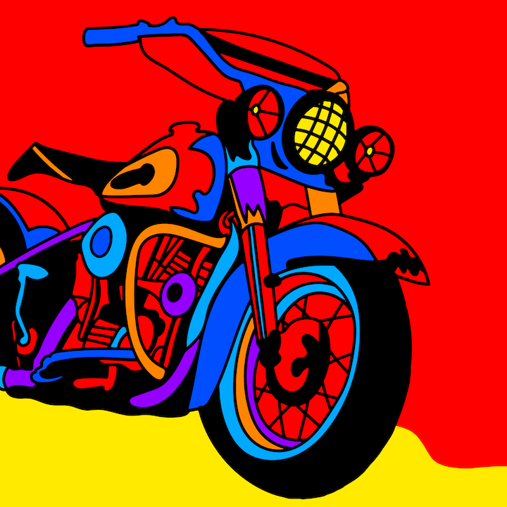 Motorcycle illustration done by Mina Tocalini of 360 MAGAZINE.