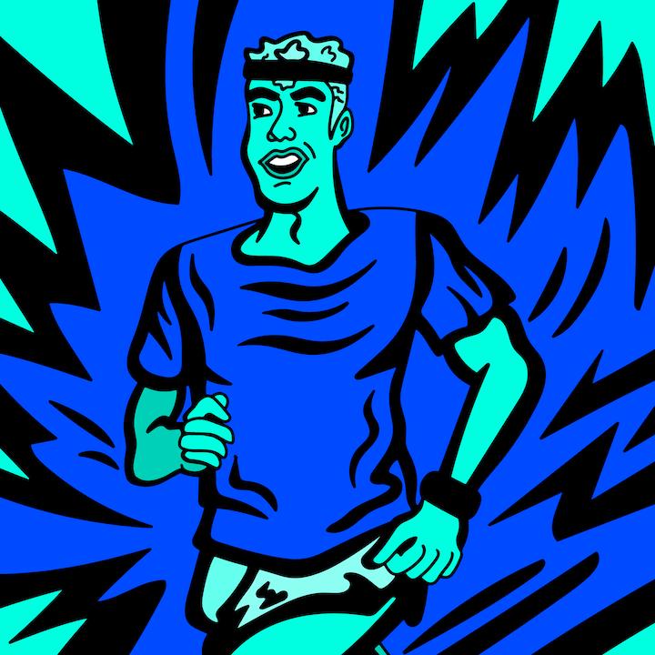 Running illustration done by Mina Tocalini of 360 MAGAZINE.