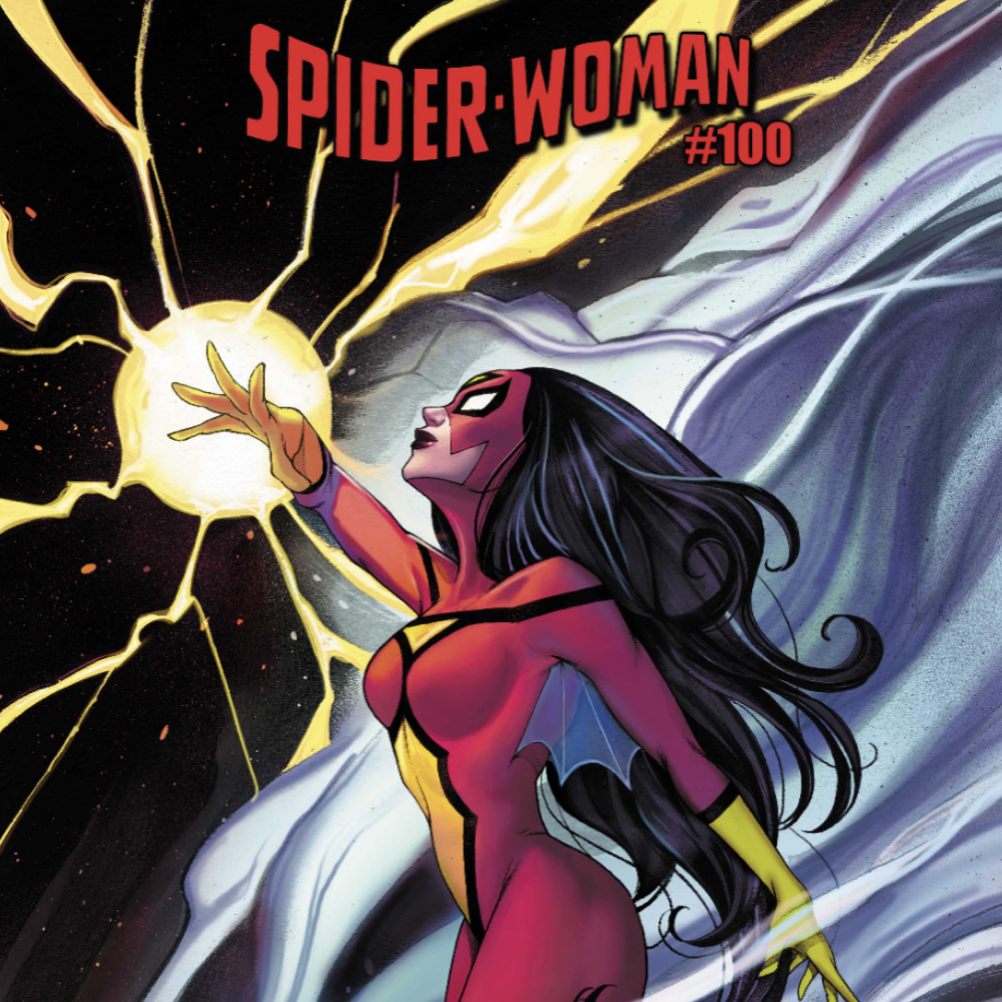 SPIDER-WOMAN SHINES BRIGHT ON PEACH MOMOKO'S SPIDER-WOMAN #100 COVER