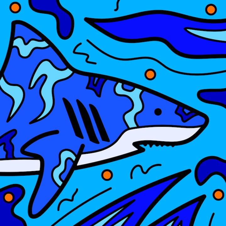 Shark illustration done by Mina Tocalini of 360 MAGAZINE.
