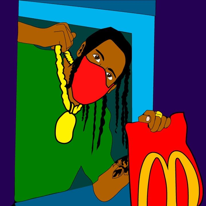 Travis Scott and McDonald's collaboration illustration by Kaelen Felix for 360 MAGAZINE.