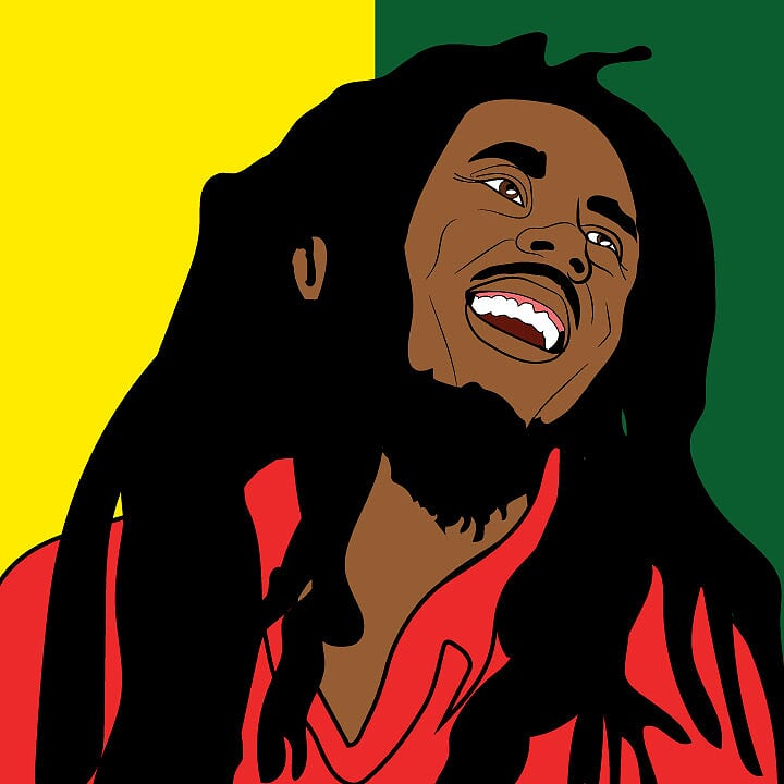 Bob Marley illustrated by Kaelen Felix for 360 MAGAZINE.