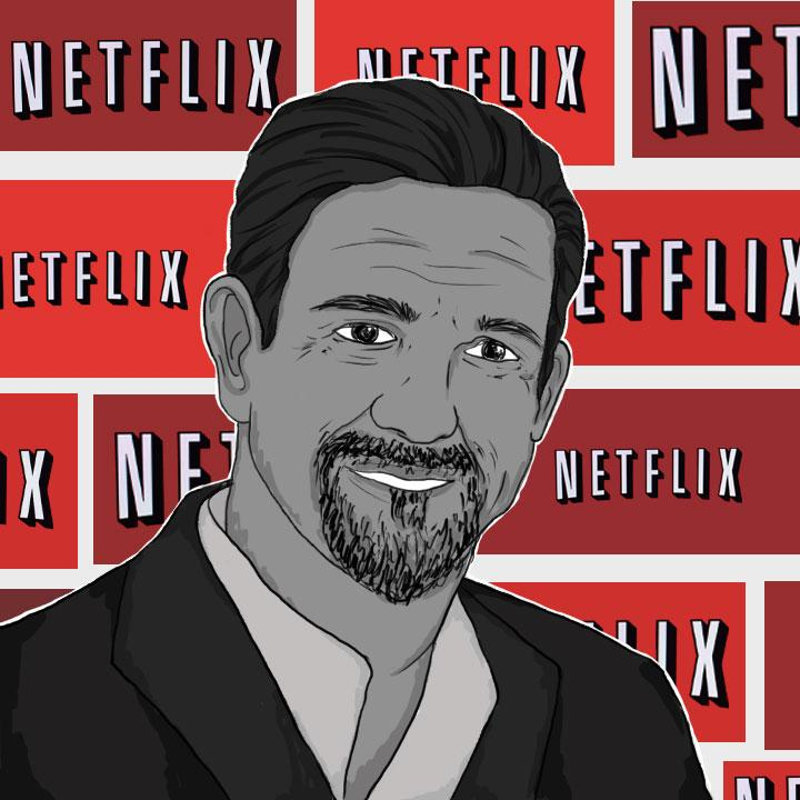 Netflix CEO illustrated by Maria Soloman for 360 MAGAZINE.