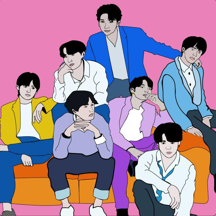 Bts illustration by Kaelen Felix for 360 magazine.