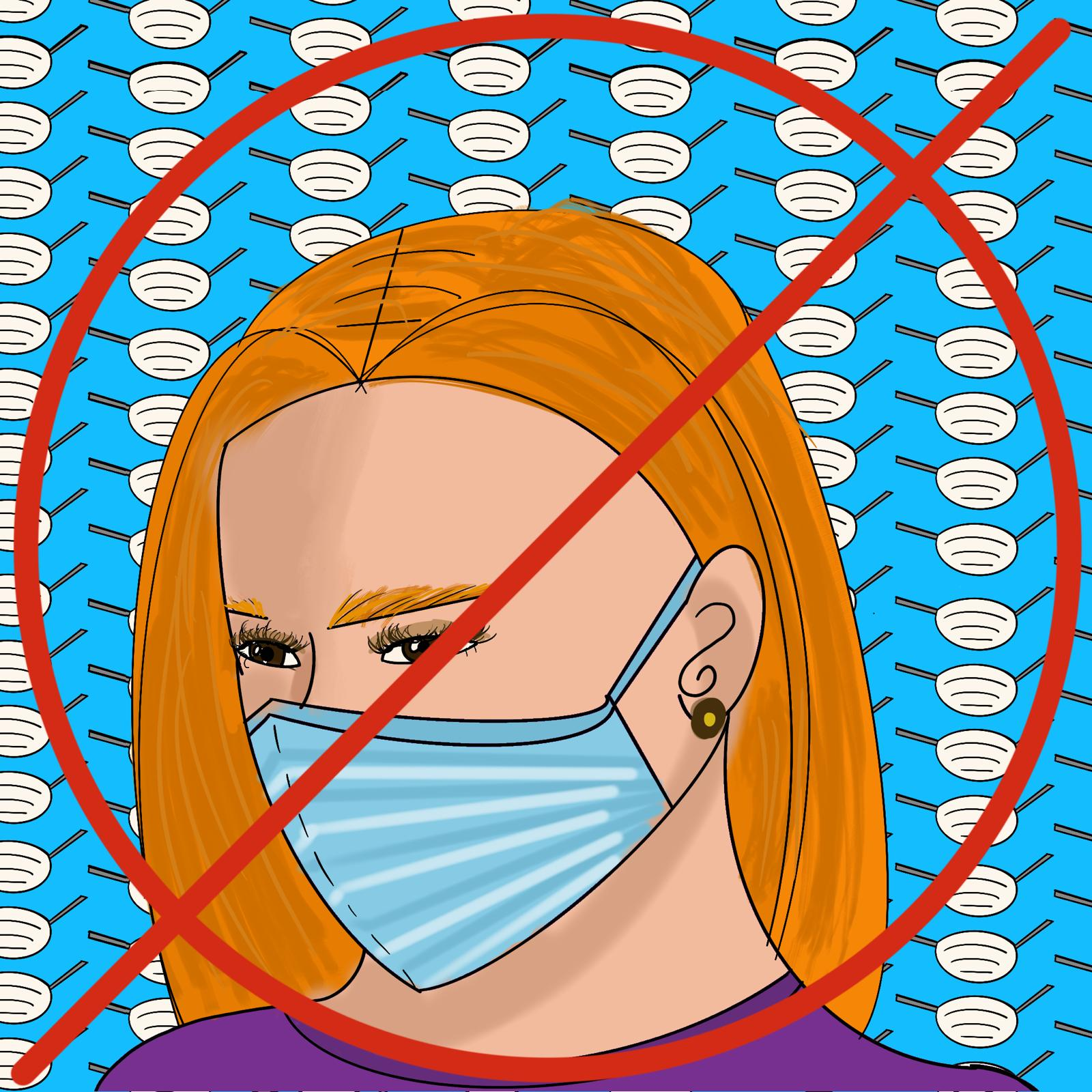 Face mask illustration by maria soloman for 360 MAGAZINE article.