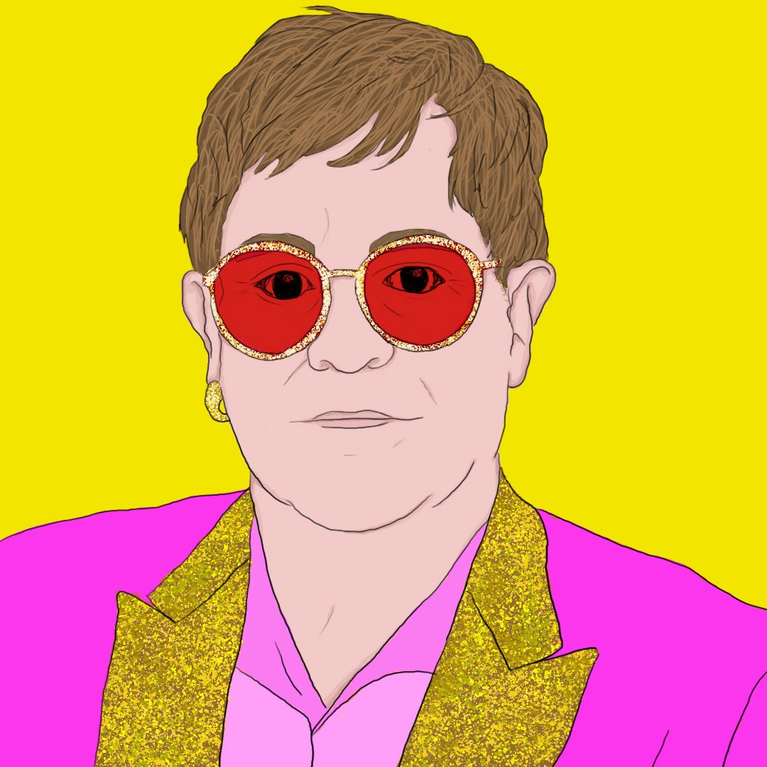 Maria Soloman illustration of Elton John for 360 MAGAZINE.