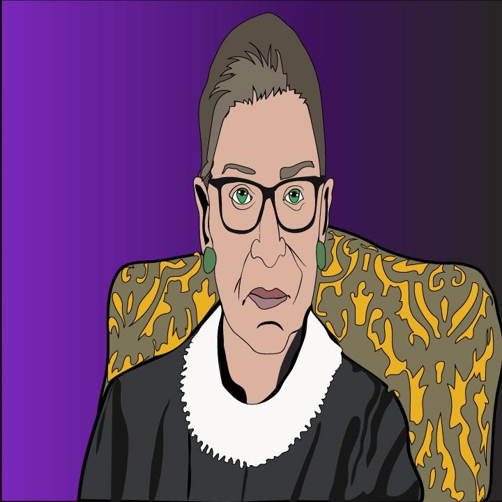 Ruth Bader Ginsburg illustration by Kaelen Felix for 360 MAGAZINE.