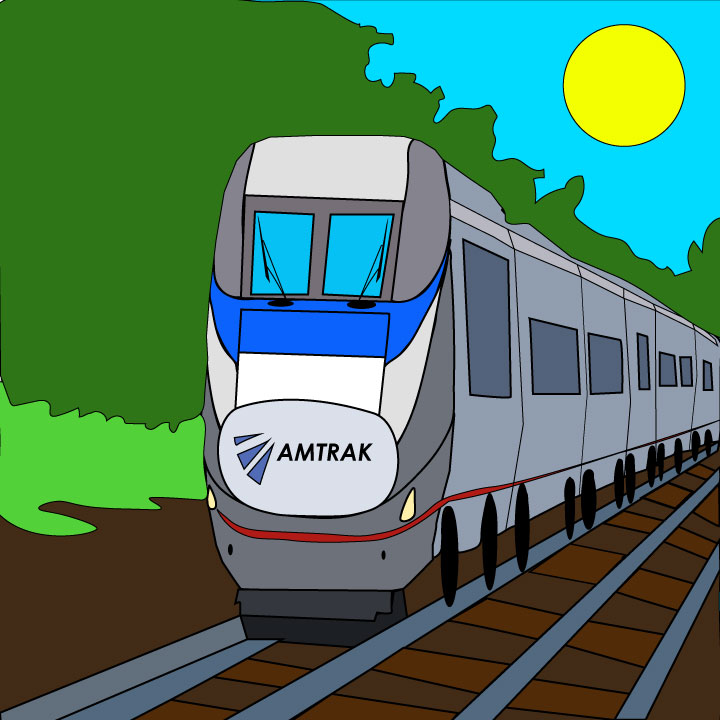 Kaelen Felix illustrates Amtrak for 360 MAGAZINE.