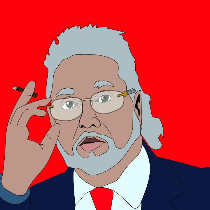 Vijay Mallya illustration by Kaelen Felix for 360 MAGAZINE Netflix article.