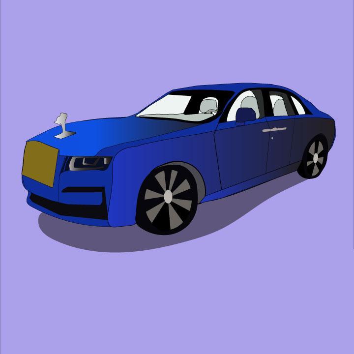 Kaelen Felix illustrates the Rolls Royce Ghost for 360 Magazine
