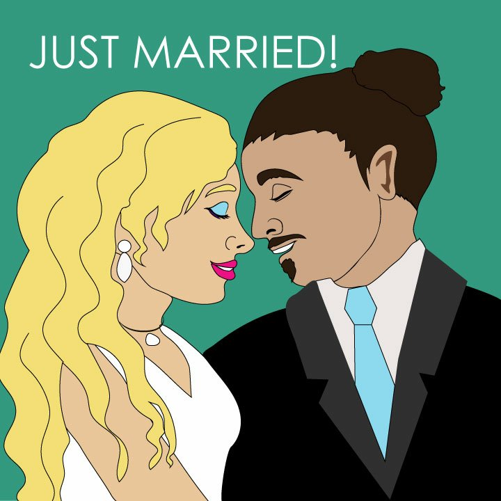 Divorce and marriage illustration by Kaelen Felix for 360 MAGAZINE