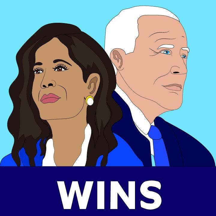 Kamala Harris and Joe Biden illustration for 360 MAGAZINE by Kaelen Felix