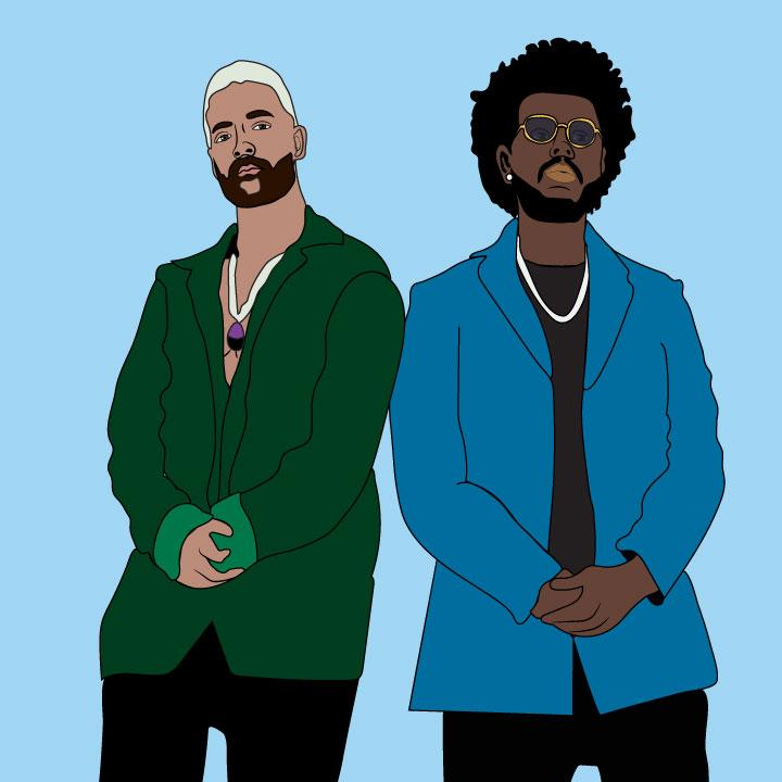 The Weeknd and Maluma illustration by Kaelen Felix for 360 Magazine