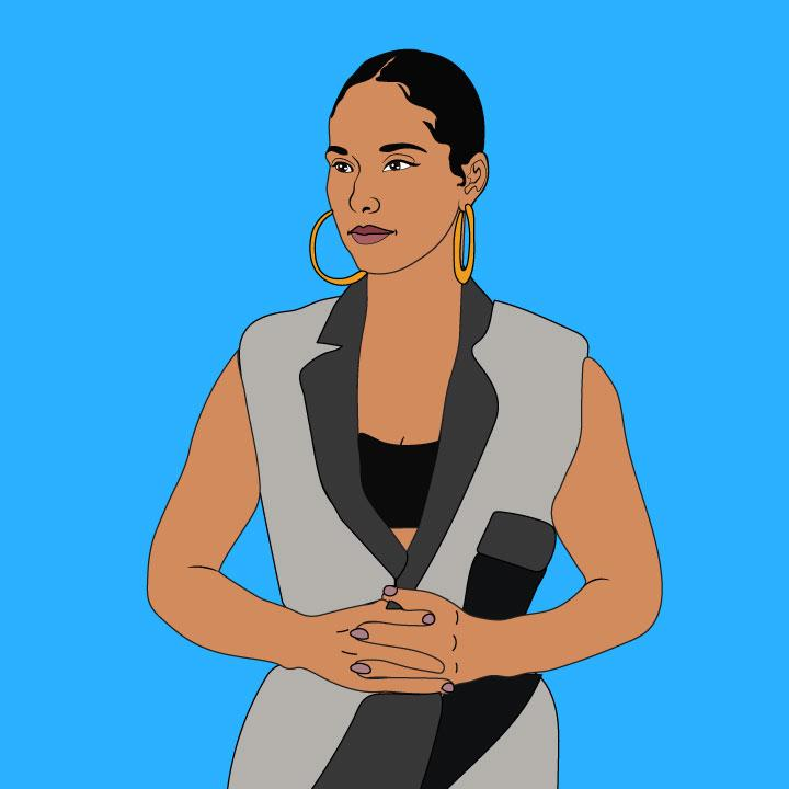 Alicia Keys illustration by Kaelen Felix for 360 Magazine MasterClass article.