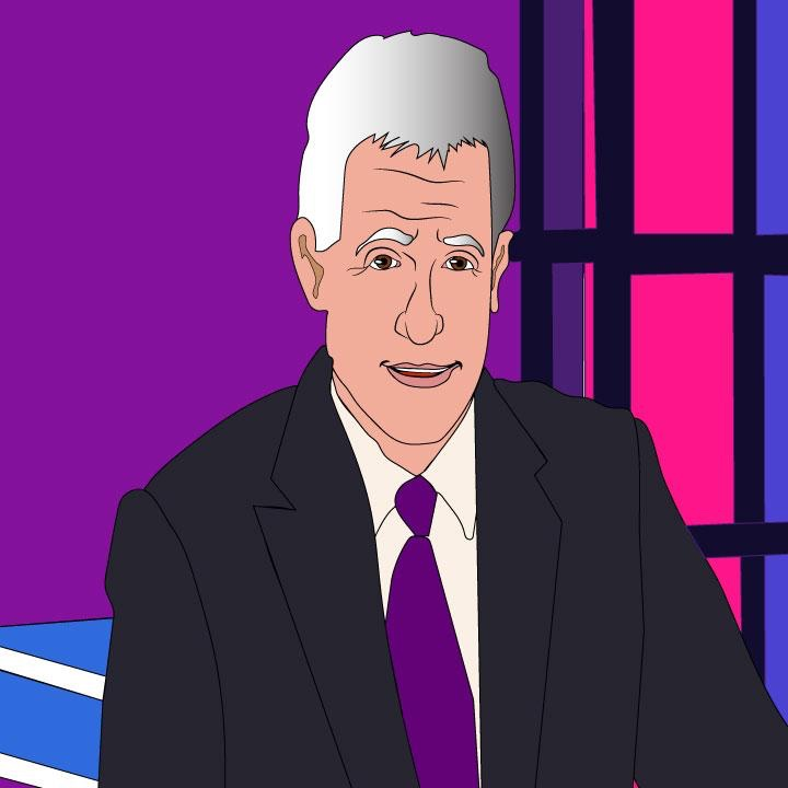 Trebek illustration by Kaelen Felix