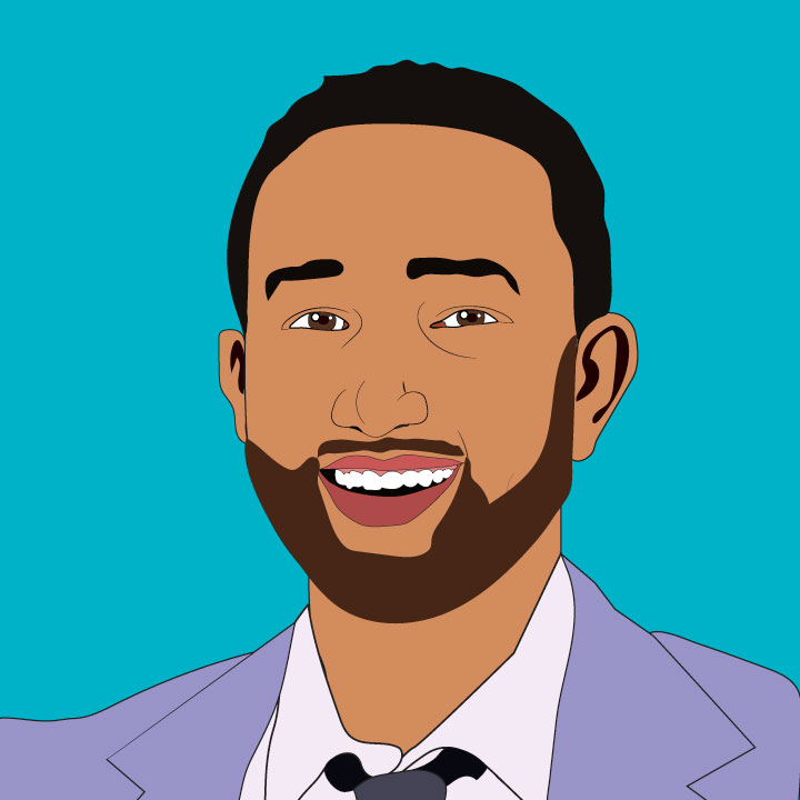 John Legend illustration by Kaelen Felix for Sperry inside 360 MAGAZINE
