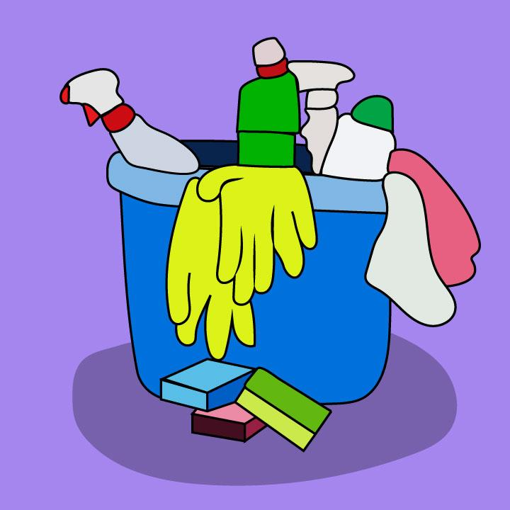 Cleaning products illustrated by Kaelen Felix for 360 magazine