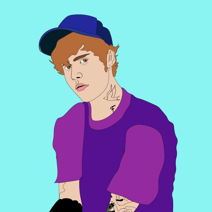 Justin Bieber Illustration by Kaelen Felix for 360 Magazine