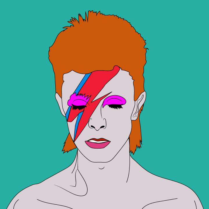 David Bowie illustration by Kaelen Felix for 360 magazine