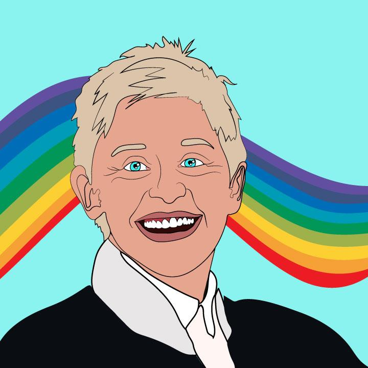 Ellen DeGeneres illustrated by Kaelen Felix for 360 MAGAZINE