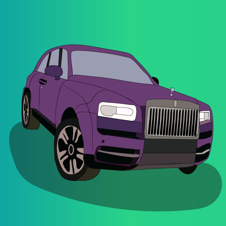 Rolls-Royce Cullinan article illustration by Kaelen Felix for 360 MAGAZINE