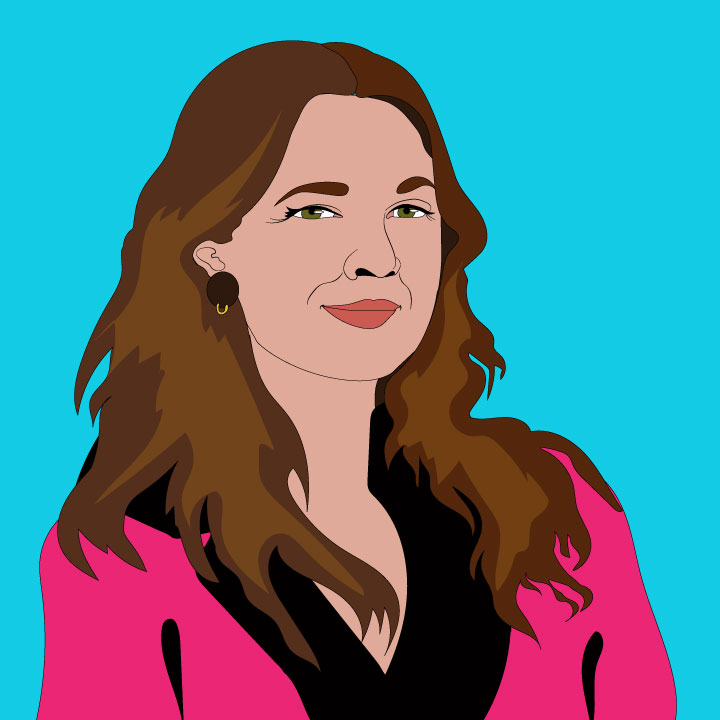 Drew Barrymore illustration by Kaelen Felix for 360 MAGAZINE